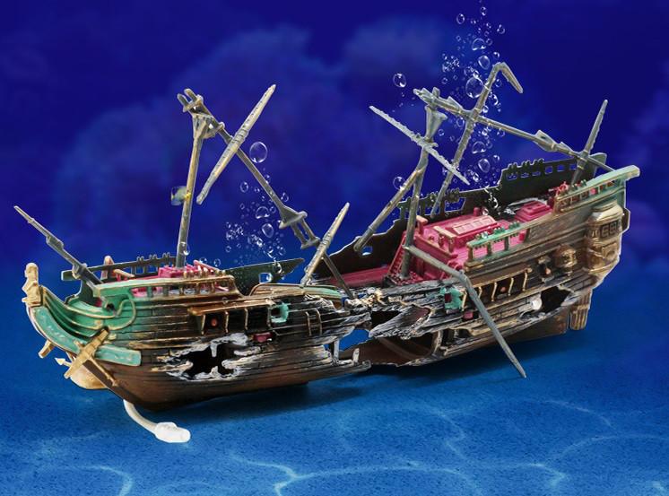 Экшн декор для аквариума Корабль с аэрацией