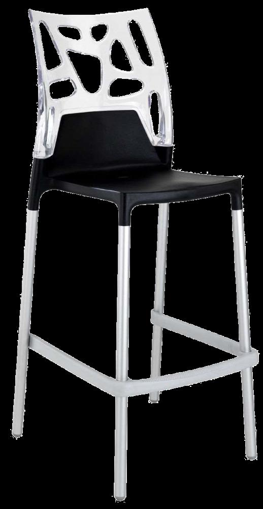 Барный стул Papatya Ego-Rock черное сиденье, верх прозрачно-чистый