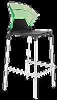 Барный стул Papatya Ego-S антрацит сиденье, верх прозрачно-зеленый, фото 1