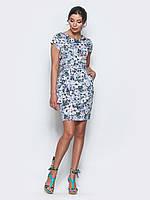 48/L   Голубое платье в цветочек с коротким рукавом и удобными карманами по бокам, фото 1