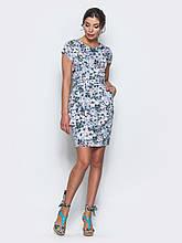 48/L   Голубое платье в цветочек с коротким рукавом и удобными карманами по бокам