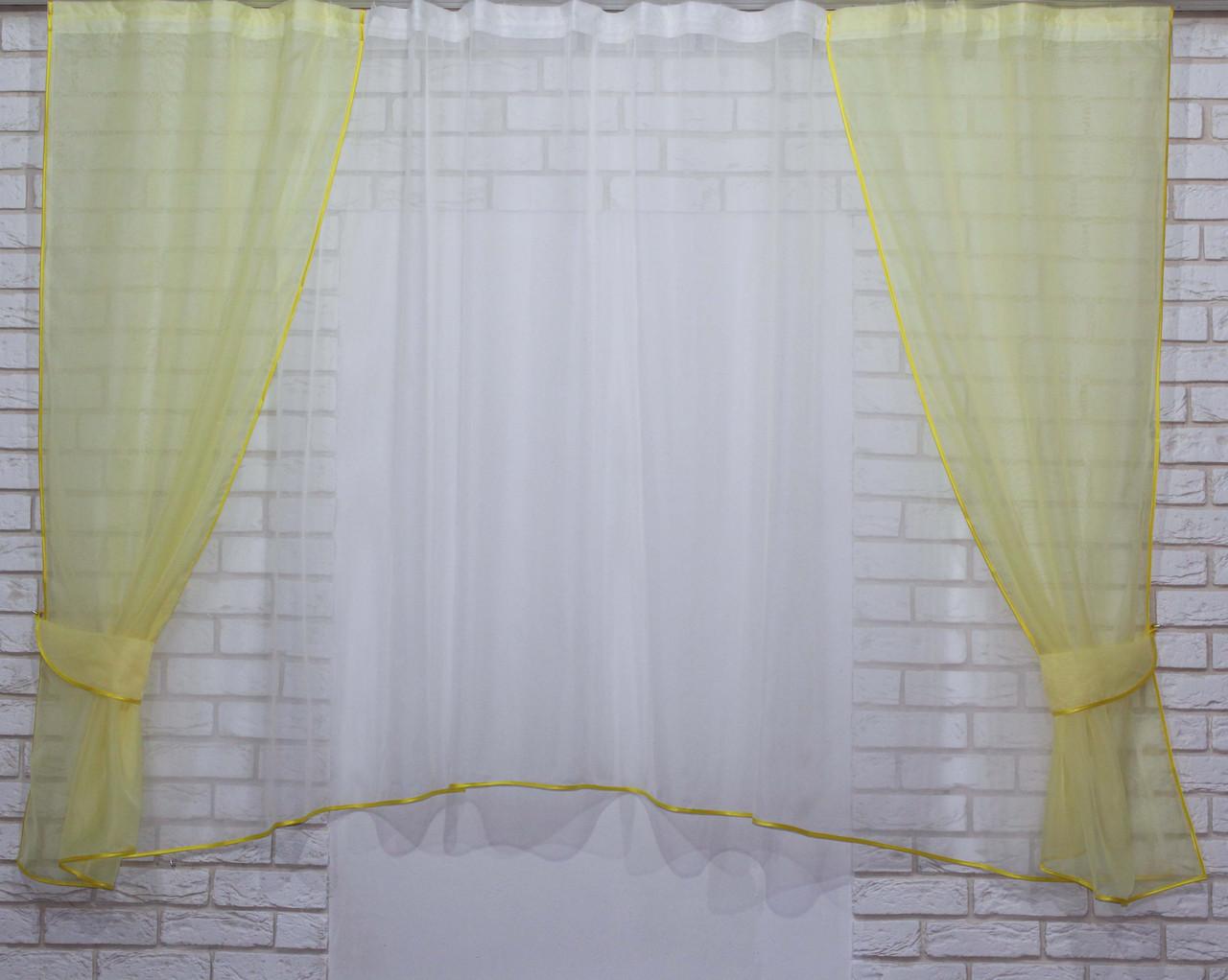 Комплект на кухню, тюль и шторки №51, Цвет жёлтый с белым