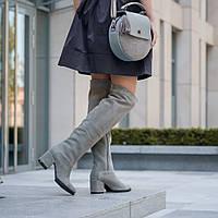 2d408e756949 Замшевые серые женские сапоги на среднем каблуке. Зима, деми. Пошив на  любую голень
