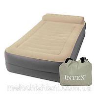 Велюр кровать INTEX с подголовником, в наборе с насосом (Арт. 67776)
