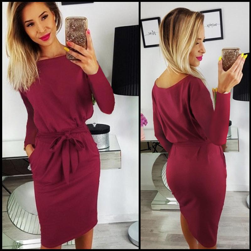c448632cb9352b Бордовое платье с поясом Erika (Код 159) - Интернет-магазин женской одежды  от