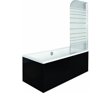 Шторка для ванни Ambition 1 75x130 Besco PMD Piramida (Скло матові смуги, Польща)