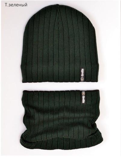 Набор детский шапка и хомут  Зеленый