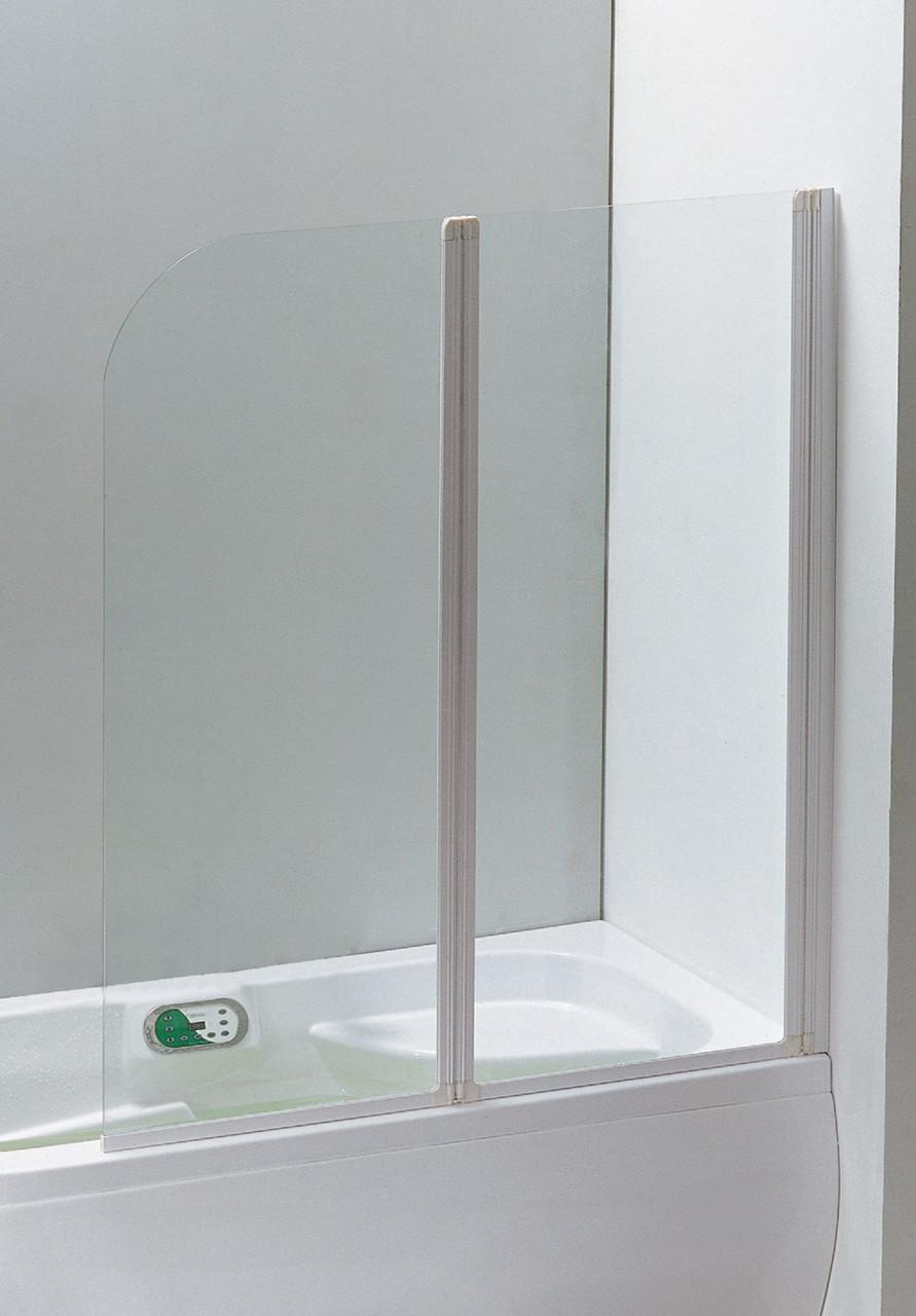 Шторка на ванну 120x138 профіль білий, скло прозоре 5 мм. Eger Угорщина