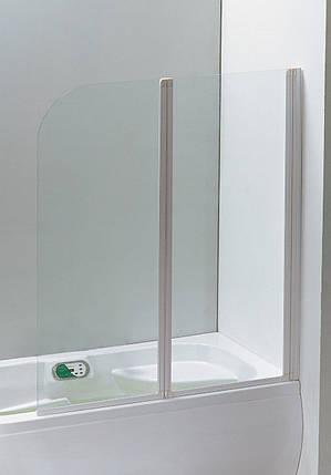 Шторка на ванну 120x138 профіль білий, скло прозоре 5 мм. Eger Угорщина, фото 2