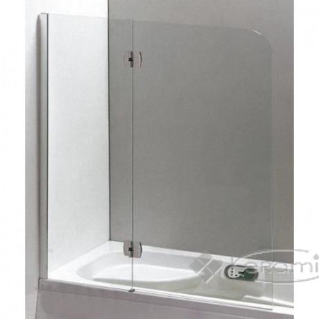Шторка на ванну 120 * 150 ліва / права, профіль хром, скло прозоре 6 мм.