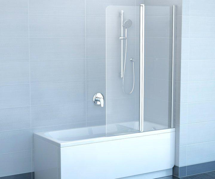 Штора для ванни 100 см. RAVAK CVS2-100L ліва, білий профіль, прозоре скло