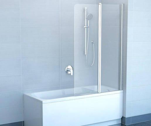 Штора для ванни 100 см. RAVAK CVS2-100L ліва, білий профіль, прозоре скло, фото 2