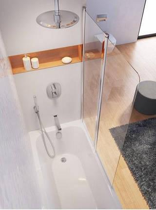 Штора для ванни 100 см. RAVAK CVS2-100 R права, сатин профіль, прозоре скло, фото 2