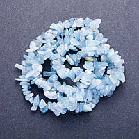 [d-8(+-)мм, L-90см] Бусины «каменная крошка» из натурального Аквамарина на леске