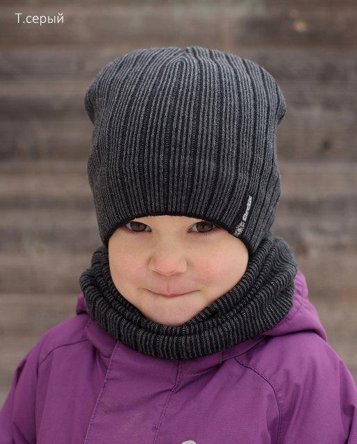 Красивый детский комплект шапка и хомут для девочки