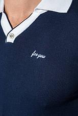 Поло мужское с рукавом сетка 50P306 (Сине-белый), фото 2