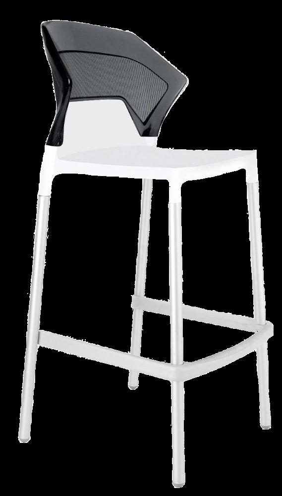 Барный стул Papatya Ego-S белое сиденье, верх прозрачно-дымчатый