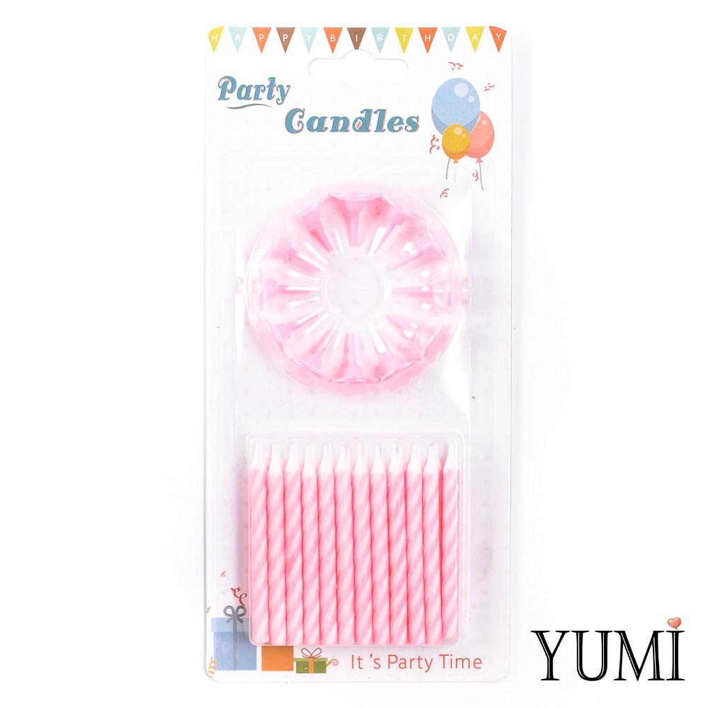 Свечи для торта 24 шт, Спираль розовая с белыми подставками
