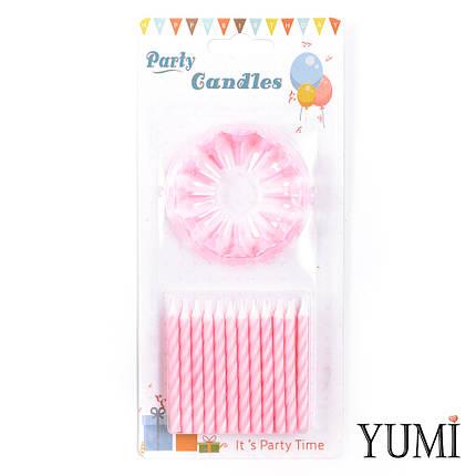 Свечи для торта 24 шт, Спираль розовая с белыми подставками, фото 2