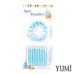 Свечи для торта 24шт, Спираль голубая с белыми подставками