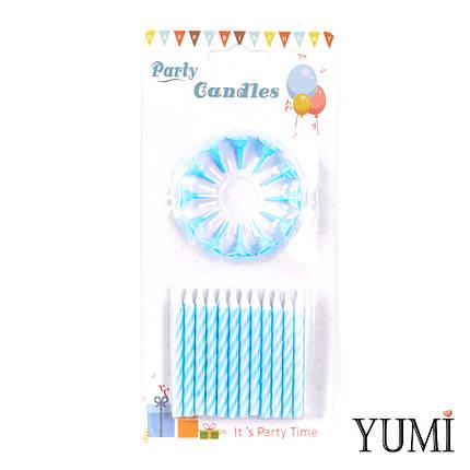 Свечи для торта 24шт, Спираль голубая с белыми подставками, фото 2