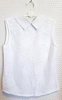 Школьная гипюровая блуза на девочку р. 140-152 белая