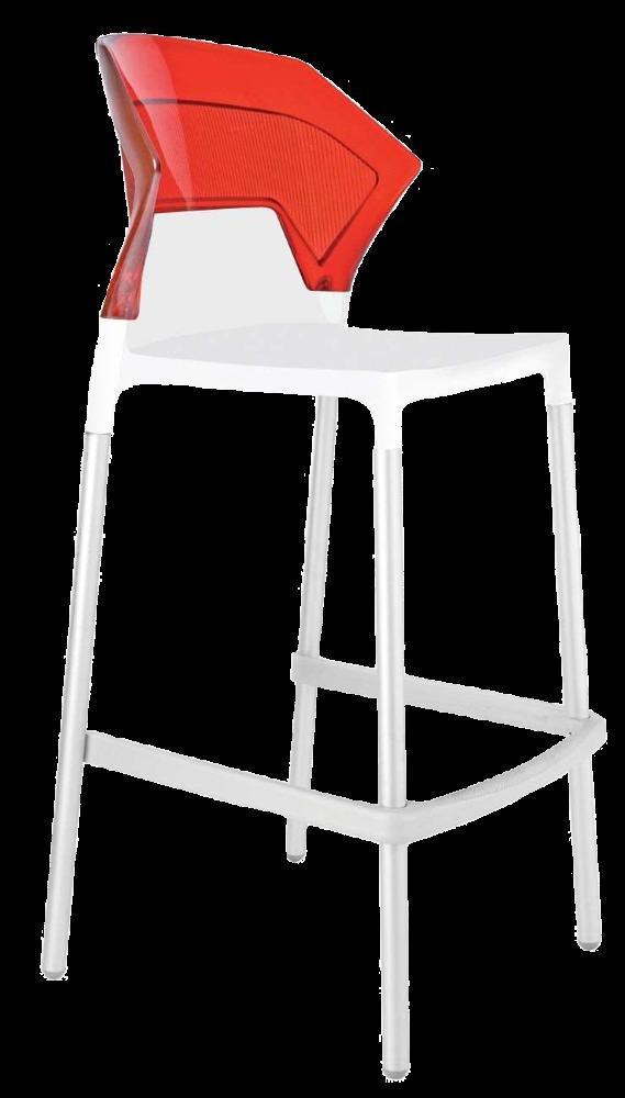 Барний стілець Papatya Ego-S біле сидіння, верх прозоро-червоний