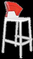 Барний стілець Papatya Ego-S біле сидіння, верх прозоро-червоний, фото 1