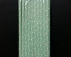 Трубочки бумажные салатовые в горошек, 20 шт