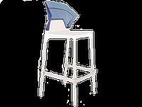 Барний стілець Papatya Ego-S біле сидіння, верх прозоро-синій, фото 1