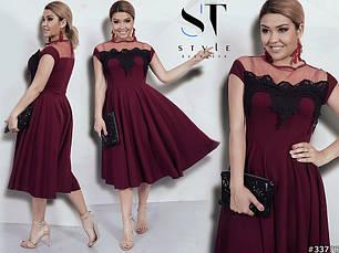 Стильне жіноче вечірнє плаття з кружевом великих розмірів бордо розмір 48-50  52-54 11c2cd342d1e5