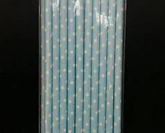 Трубочки бумажные голубые в горошек, 20 шт