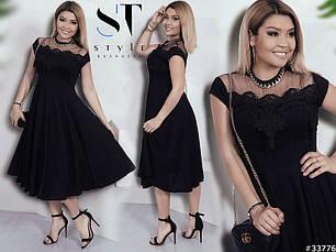 Стильне жіноче вечірнє плаття з кружевом великих розмірів чорне розмір 48-50  52-54 536e9d8271286