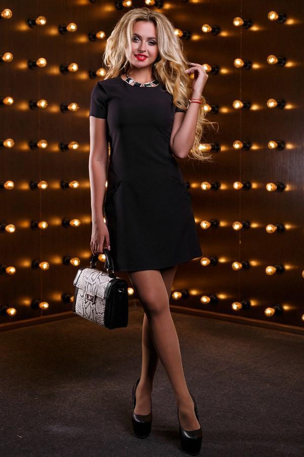 8c76bd6eb18 Черное Платье Трапеция Мини Д-1634 — в Категории