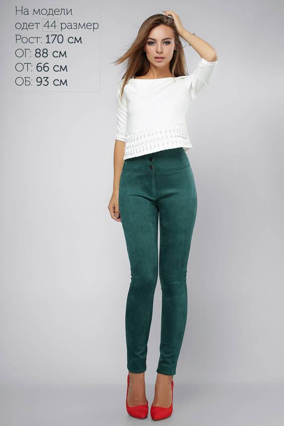 Замшевые брюки-скинни с высокой талией зеленые, фото 2