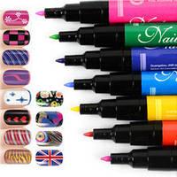 Набор для дизайна росписи ногтей Hot Designs Nail Art Pens 2 в 1 кисть и карандаш  (Арт. 868)