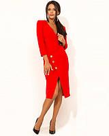 Красное деловое платье в офис Д-550