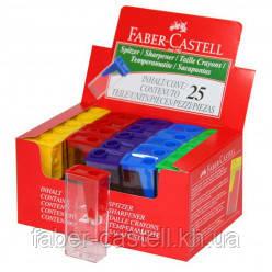 Точилка простая цветная с прозрачным контейнером Faber-Castell, 581526
