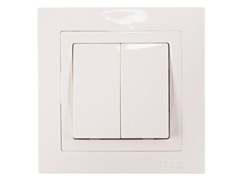 Выключатель двойной Luxel BRAVO (5003) белый