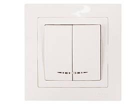 Выключатель двойной с подсветкой Luxel BRAVO (5006) белый