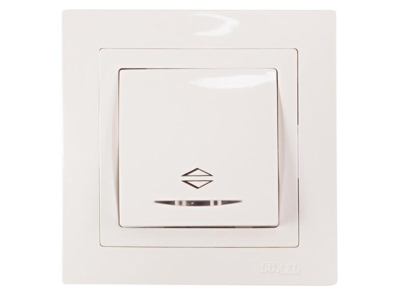 Выключатель проходной с подсветкой Luxel BRAVO (5016) белый