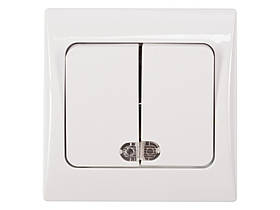 Двойной выключатель с подсветкой Luxel FAIRY (4006) белый