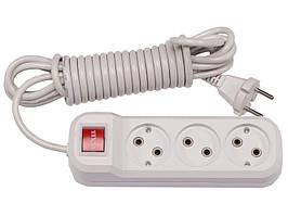 Сетевой удлинитель Luxel 3 розетки 3М с выключателем (7223)