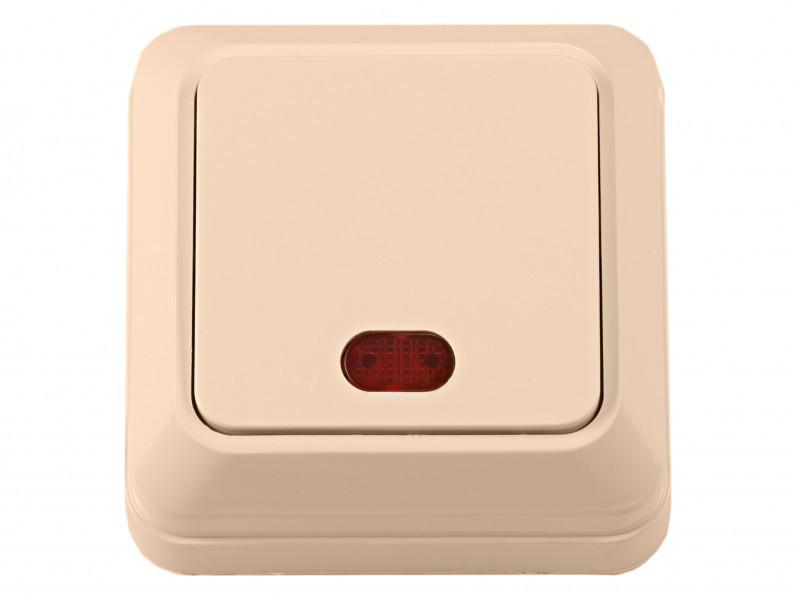 Наружный выключатель с подсветкой Luxel OPERA (2305) кремовый