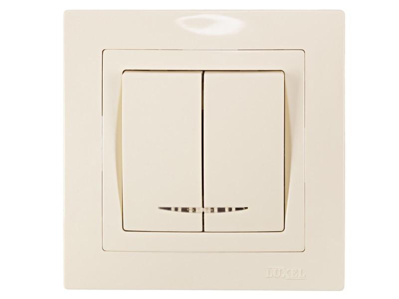 Выключатель двойной с подсветкой Luxel BRAVO (5306) кремовый