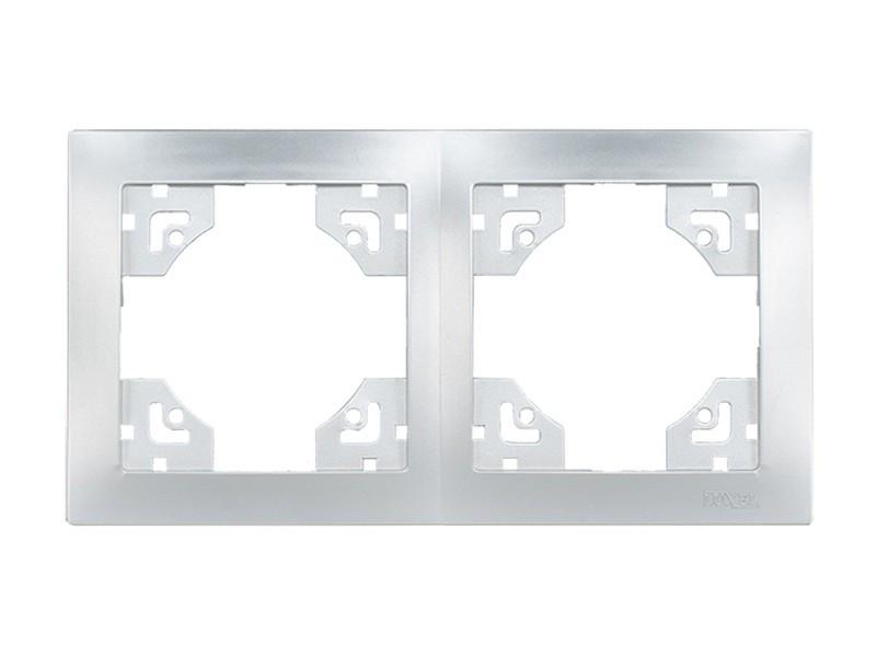 Рамка 2-я горизонтальная Luxel BRAVO (5522) серебряная