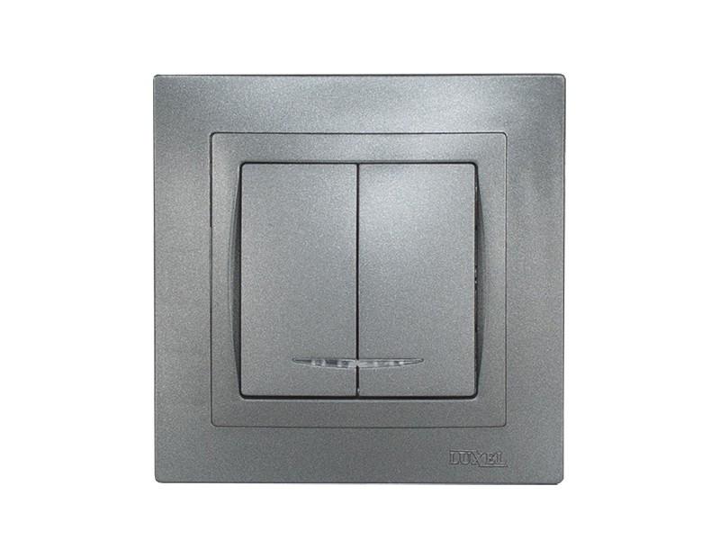 Выключатель двойной с подсветкой Luxel BRAVO (5706) графитовый