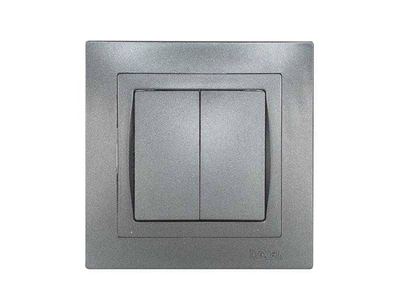 Выключатель двойной Luxel BRAVO (5703) графитовый