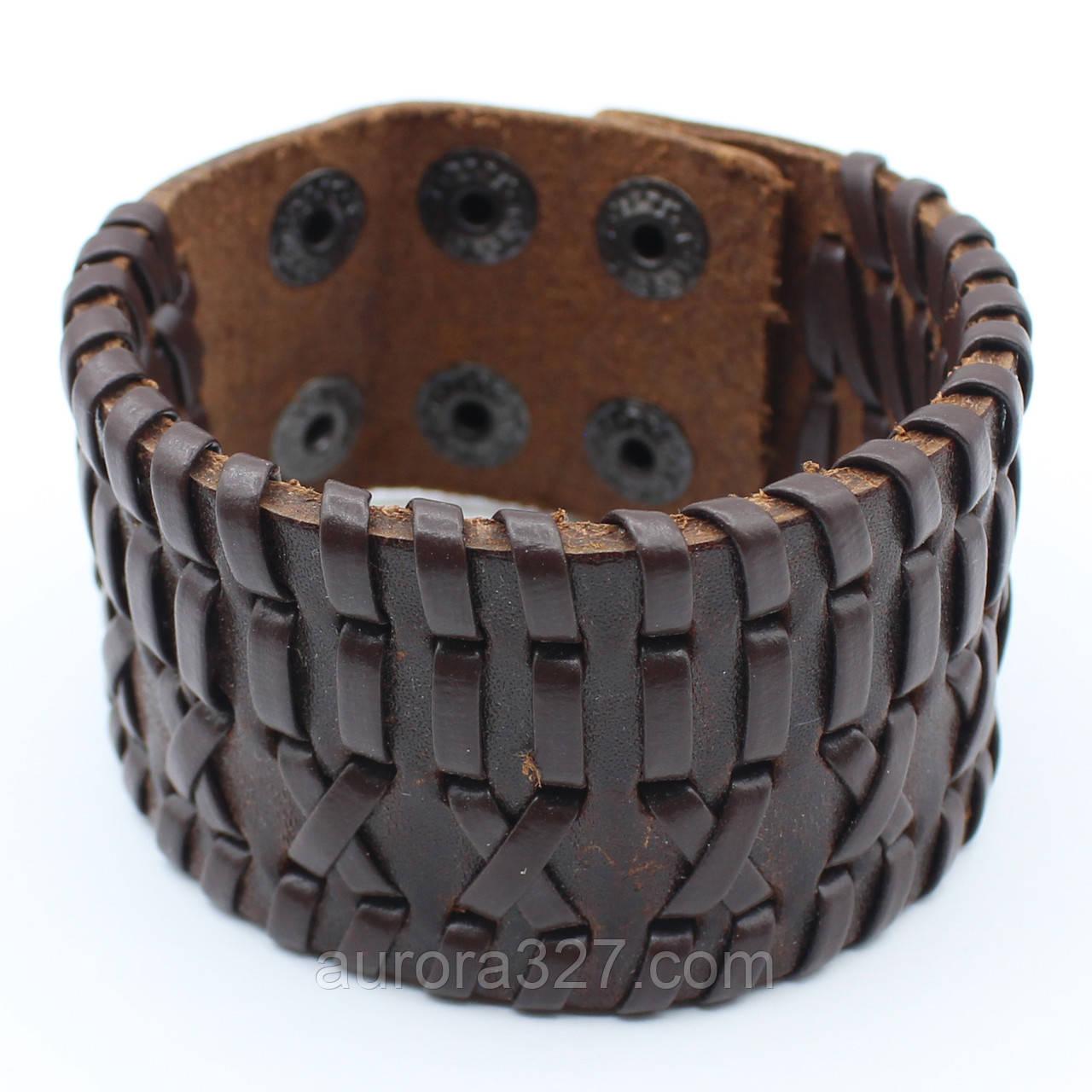 """Мужской  кожаный браслет """"Алессандро"""" L-22,5 см"""