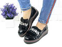 Туфли лоферы женские Tiana черные лаковые 1002